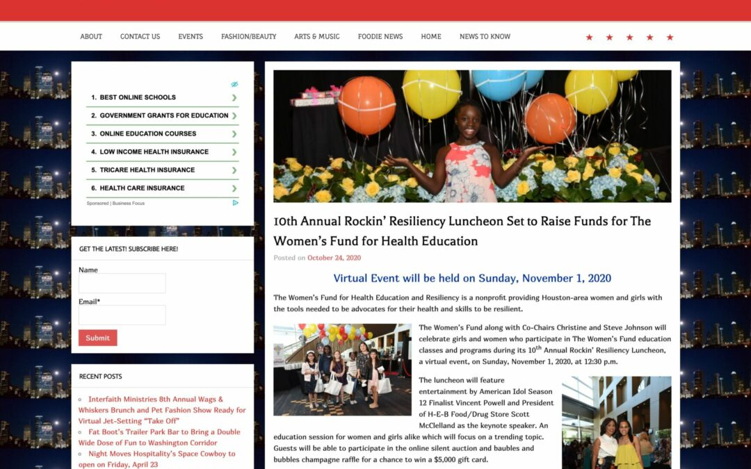 10th Annual Rockin' Resiliency  Luncheon Set to Raise Funds for The Women's Fund For Health Education