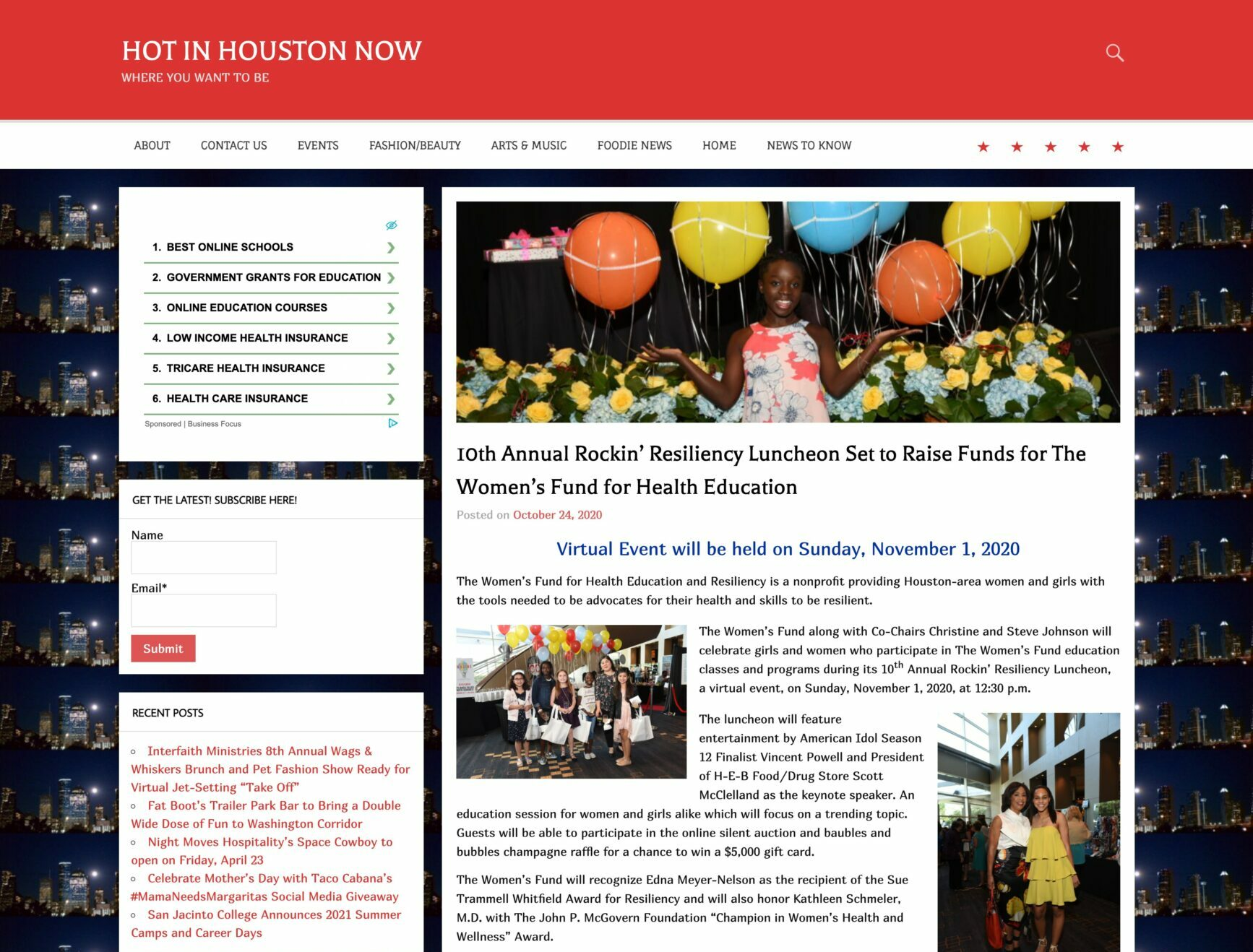 Screenshot of 4. Hot in Houston Now, 10th Annual Rockin' Resiliency Luncheon