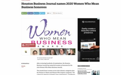 Houston Business Journal named 2020 Women Who Means Business Honorees