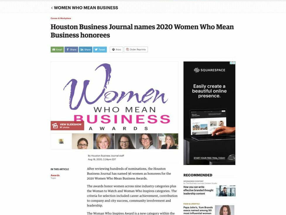 Screenshot of Houston Business Journal names 2020 Women Who Mean Business honorees
