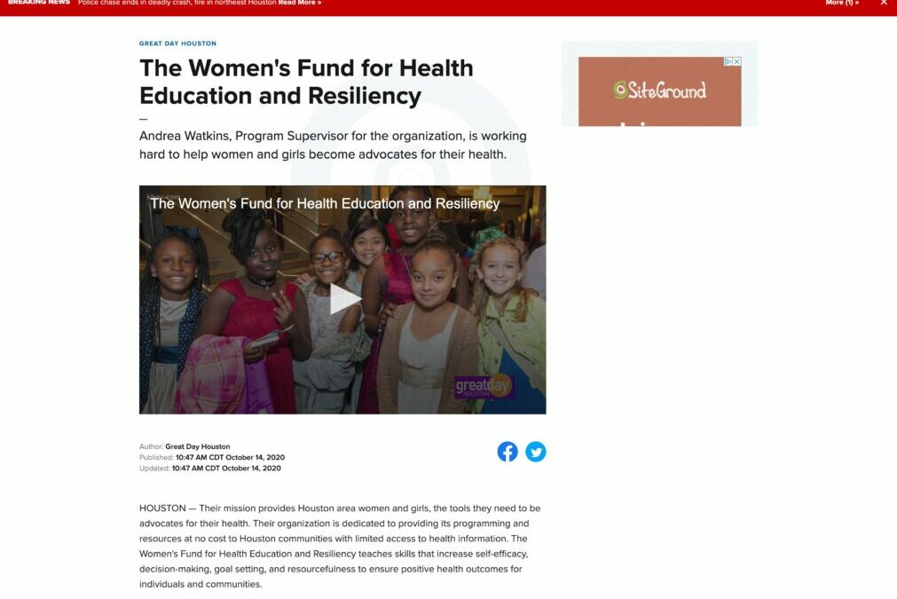 Great Day Houston Features The Women's Fund for Health Education and Resiliency