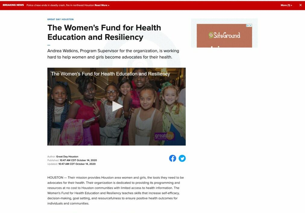 Screenshot for 6. KHOU Great Day Houston, The Women's Fund for Health Education and Resiliency