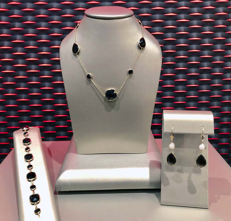 necklace, bracelet and earrings