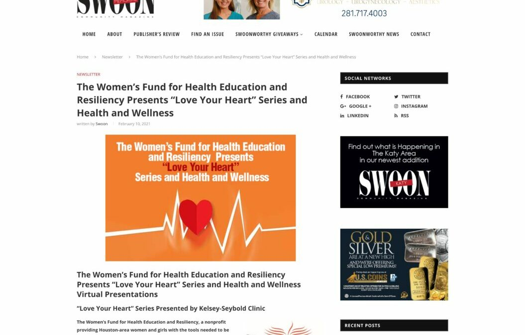 "The Women's Fund for Health Education and Resiliency Presents ""Love Your Heart"" Series and Health and Wellness"