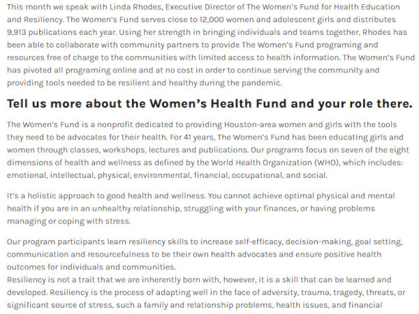 Screenshot of The Women's Fund for Health Education and Resiliency Presents Love Your Heart Series and Health and Wellness